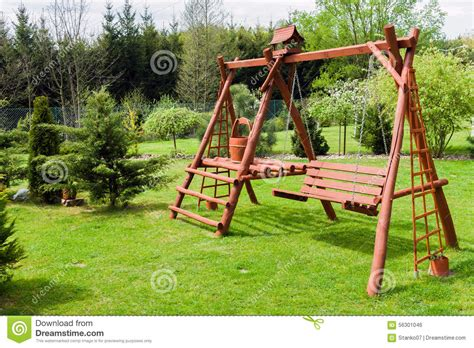 swing architecture wooden garden swing stock photo image 56301046