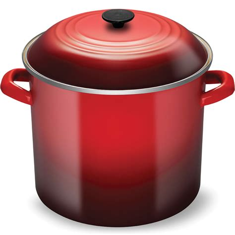 creuset pot le creuset enameled steel stock pot 20 quart cherry red