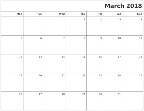 printable calendar for march 2018 march 2018 printable blank calendar