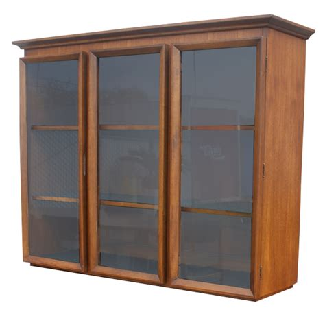 vintage walnut glass bookcase hutch china cabinet