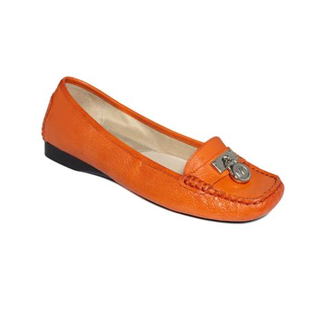 orange loafers lyst michael kors hamilton loafer flats in orange