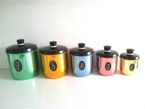 retro kitchen canister sets jason anodised aluminum canister set retro vintage kitchen
