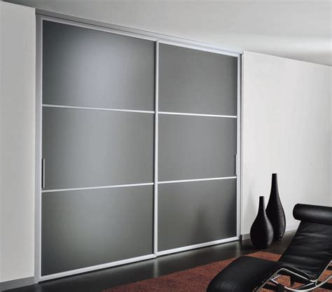 Metal Closet Doors Sliding Door Wardrobe With Frosted Glass And Silver Metal Frame Together White Wall Paint And