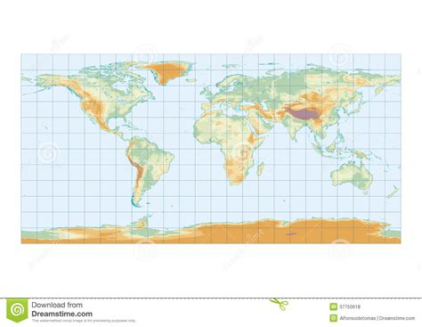 world map with lakes and seas physical map of the world graticule royalty free stock