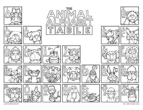 animal alphabet coloring pages a z the animal alphabet table coloring poster angry squirrel