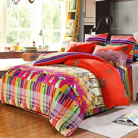bright colored comforters red and bright colorful rustic scene bicycle holiday and