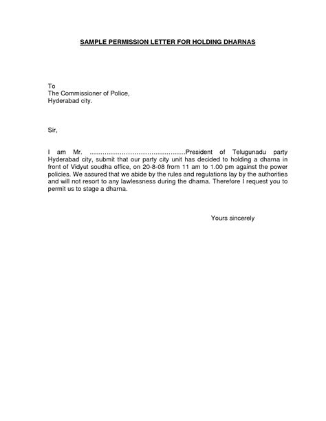 Permission Letter For Format Of A Permission Letter Best Template Collection