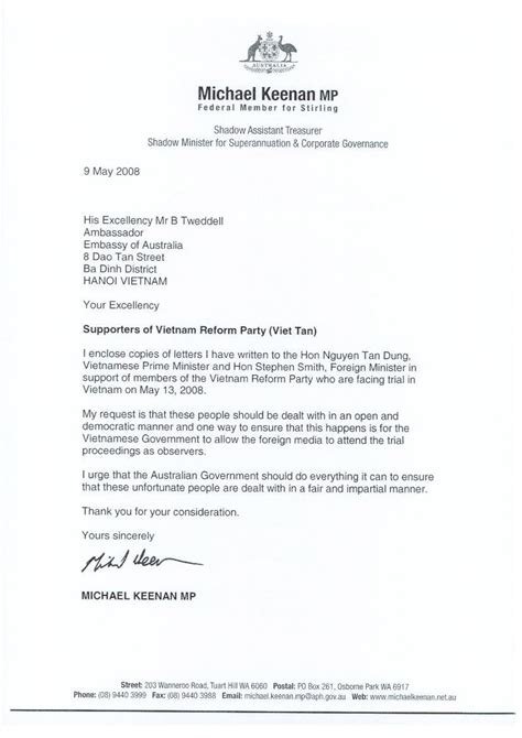 Australian Embassy Letter Letter To Consulate General Of Australia