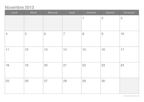 Calendrier De Novembre Calendrier Novembre 2013 224 Imprimer Calendrier2013 Net
