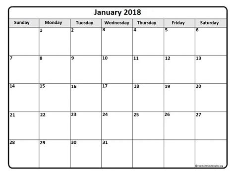 Printable 2018 Calendar By Month January 2018 Calendar January 2018 Calendar Printable