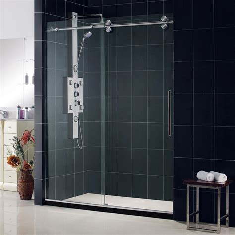 Bathroom Glass Sliding Shower Doors Dreamline Enigma 56 60 Fully Frameless Sliding Shower Door 1 2 Glass Brushed Stainless