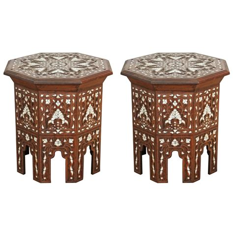of pearl table pair of syrian of pearl inlaid side tables cool