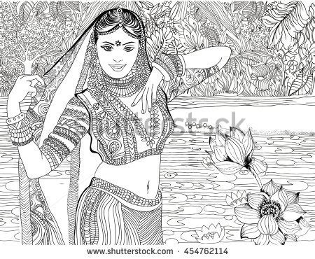 indian bride coloring page beautiful indian woman on jungle background stock vector