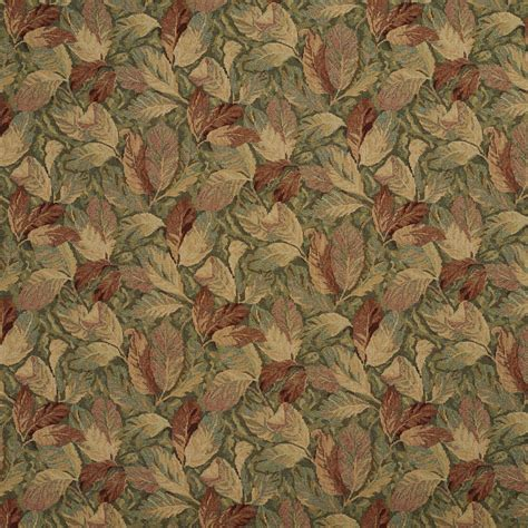 tapestry fabrics upholstery green tan and coral autumn foliage upholstery fabric