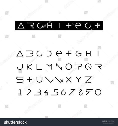 font design latin minimal outline font latin alphabet numbers stock vector