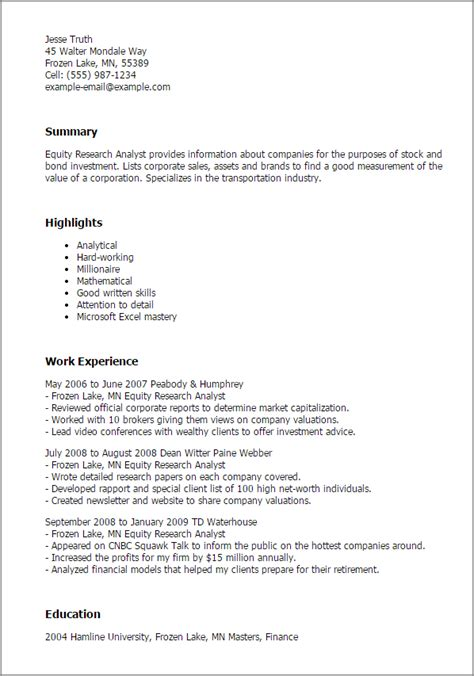 Equity Resume by 1 Equity Research Analyst Resume Templates Try Them Now