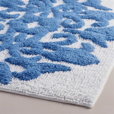 mediterranean blue and white medallion bath mat world market
