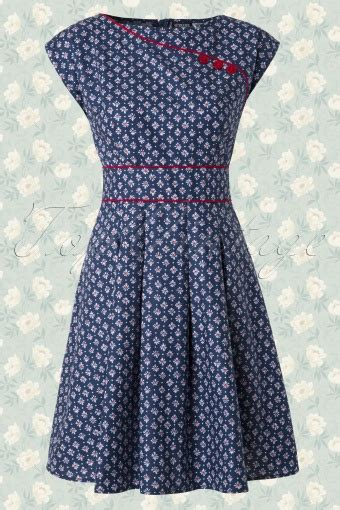 Blue M Dress 14600 50s dot floral dress in blue