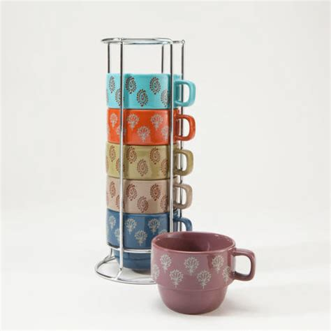 block print stacking mugs contemporary mugs by cost
