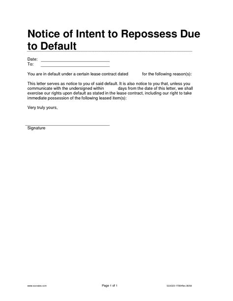 Rent Default Letter Notice Of Default Letter Template 28 Images 9 Best Images Of Default Notice In Lease Grant