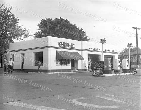 Kitchen Collectables Store by Vintage Old 1950s Gulf Gas Service Filling Fuel Station