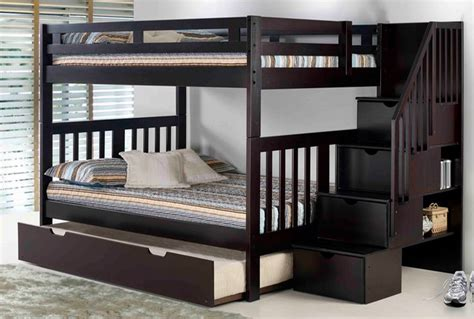 bunk beds with staircase staircase bunk bed espresso mattress superstore