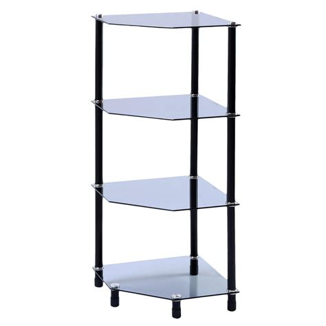 glass corner shelf shelving display unit storage furniture