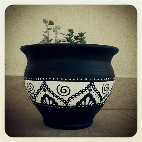 pot designs black and white painted terracotta pots awesome painting