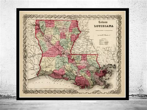 louisiana map framed map louisiana state 1865 maps and vintage prints