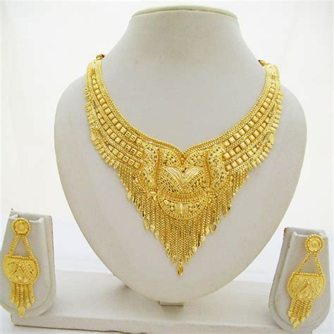 indian gold plated choker necklace earring set ethnic