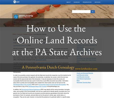 Pa State Records How To Use The Land Records At The Pa State Archives