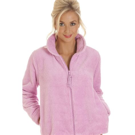 ladies bed jackets omens zip front soft fleece bed jacket