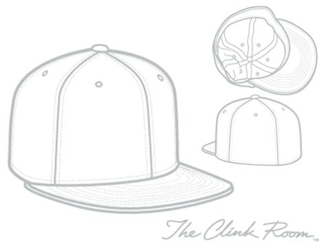 fitted baseball hat template sketch coloring page