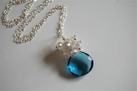 blue quartz and moonstone necklace on luulla