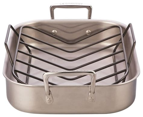Design Ideas For Large Roasting Pan Le Creuset Large Stainless Steel Roasting Pan And Rack Set Traditional Roasting Pans And