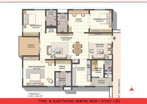 3bhk plan ncc