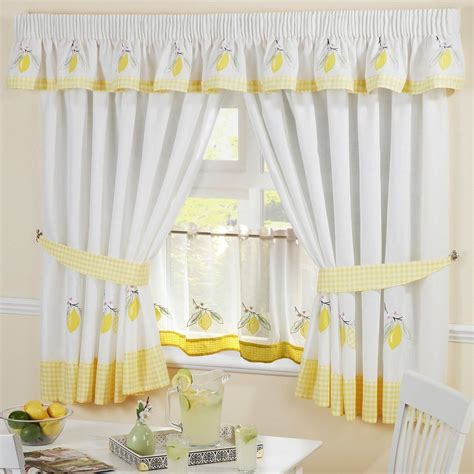 24 cafe curtains lemon gingham embroidered kitchen curtains pelmet 24
