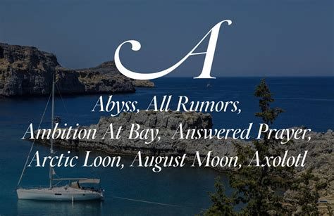 best yacht names best boat names list from a to z ideas for cool