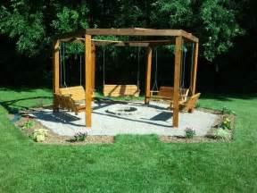 Octagon five swing backyard swing fire pit octagon swing swings