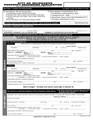 City Of Milwaukee Property Recording City Of Milwaukee Property Recording Application Fill Printable Fillable