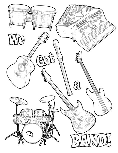 coloring pages for music instruments musical instrument coloring pages print out az coloring