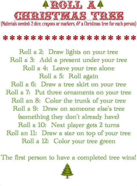 blissful roots roll a christmas tree game printable