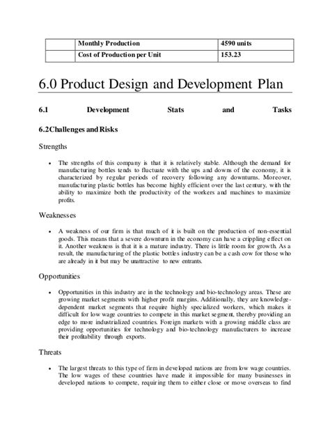 business plan template manufacturing plastic manufacturing company business plan