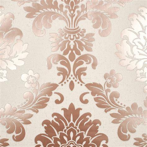 glitter wallpaper decor fine decor quartz damask rose gold glitter wallpaper fd42204