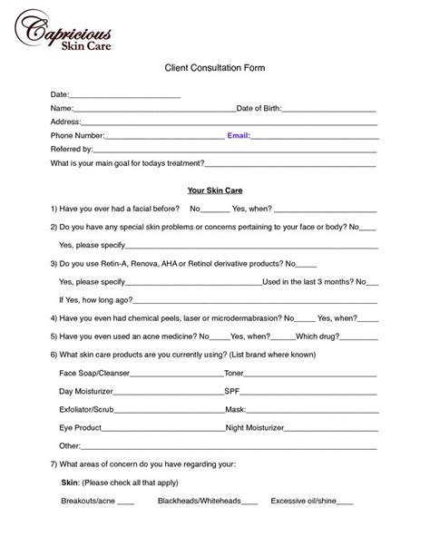 consultation form image chemical peel consultation form client