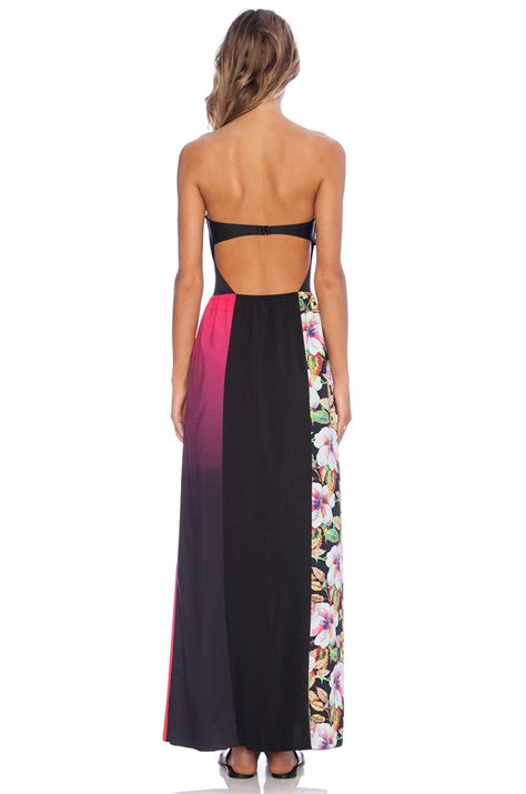 Blus Relina Clover Clothing 1 lyst clover botanical wave strapless dress in black