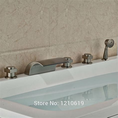 deck mount bathtub faucet with sprayer newly waterfall bathtub faucet nickel brushed shower tub mixer tap deck mount hand