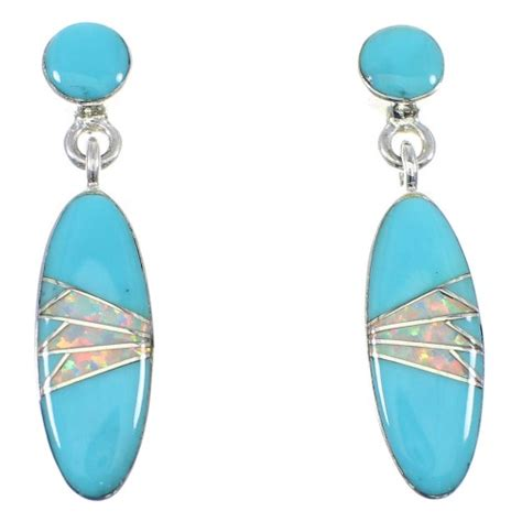 turquoise opal earrings turquoise opal sterling silver post dangle earrings yx53272