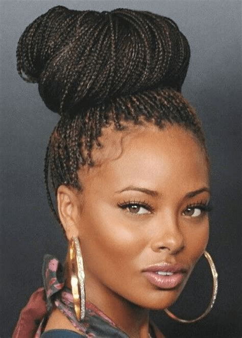 braids and twists hairstyle with a rolled bun front braided hairstyles for black women trending 2015
