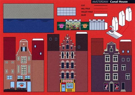 Make A 3d Paper City - make city amsterdam canal house cut out postcard by